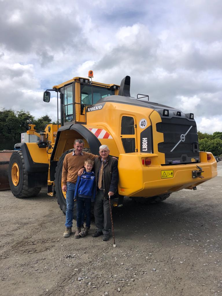 Volvo L180H sold to Dowling Quarries Ltd in Co.Laois. The 3 generations of Humphrey Dowling taking delivery.